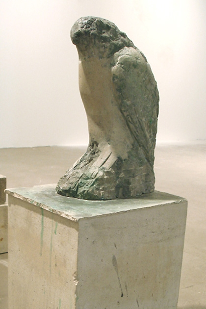 """Egyptian Falcon,"" 2007 Provencal limestone, casein, and sumi ink 25 x 9 x 11 inches"