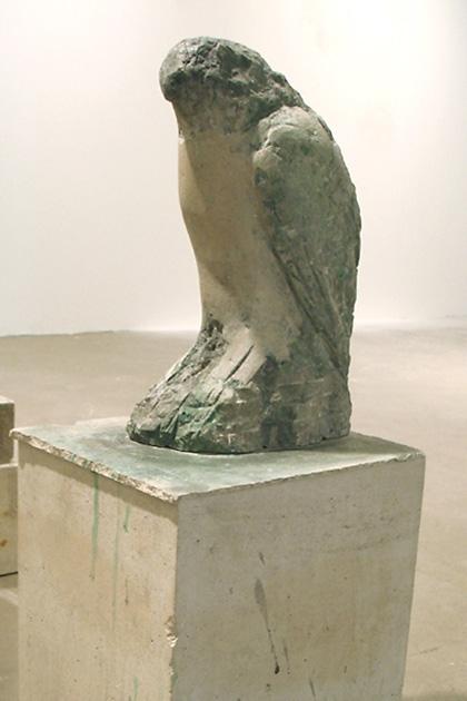 """Egyptian Falcon,"" 2007 Provencal limestone, casein, and sumi ink 25 x 9 x 11 inches"