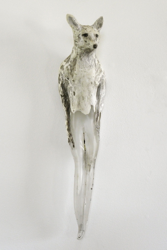 """""""Fox Girl,"""" 2010 Hand blown glass, marble mix and sumi ink 20 x 5 x 5 inches"""