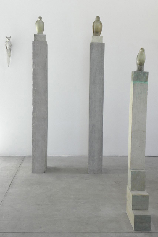 """""""Glass Fossil Bird,"""" 2010 Hand blown pigmented glass and limestone  Installation"""