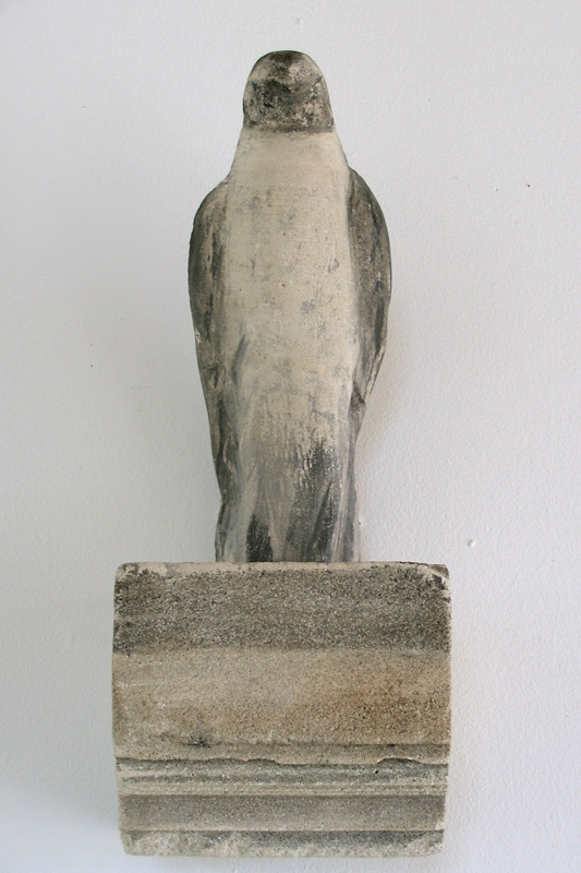 """""""The Bird I Saw,"""" 2009 Limestone and pigment 17.5 x 7.5 x 7 inches"""