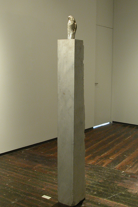 """Goshawk,"" 2008 Hand blown pigmented glass and provencal limestone 78 x 8 x 11 inches"