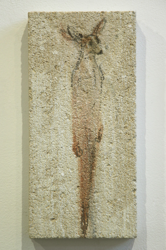 """Deer Tablet,"" 2010 Korean watercolor on limestone 15 x 7 inches"