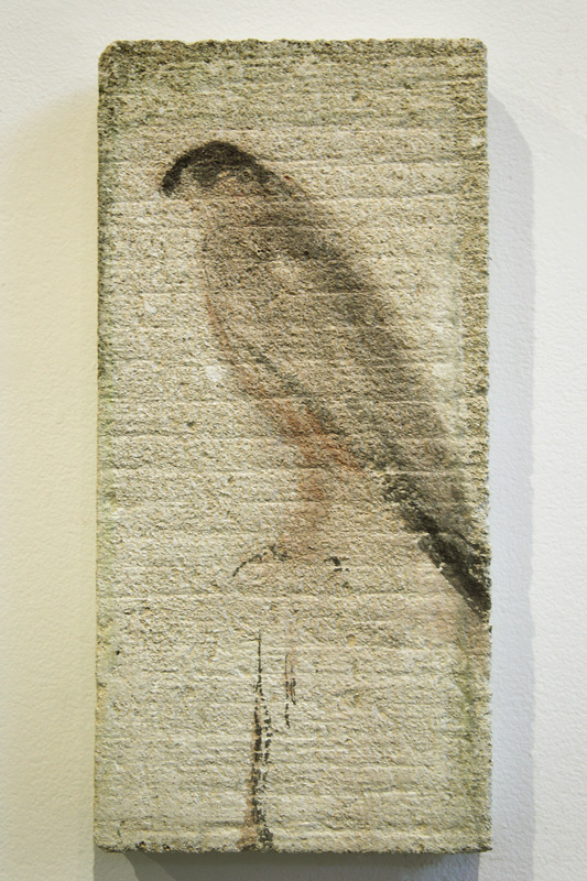 """Peregrine Tablet,"" 2010 Korean watercolor on limestone 15 x 7.5 inches"