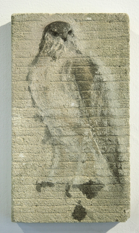 """Lined Bird Tablet,"" 2010 Sumi ink on limestone 15 x 7. 5 inches"