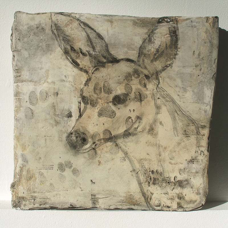 """Coyote Tracks II,"" 2007 Mixed media 14 x 14 x 2 inches"