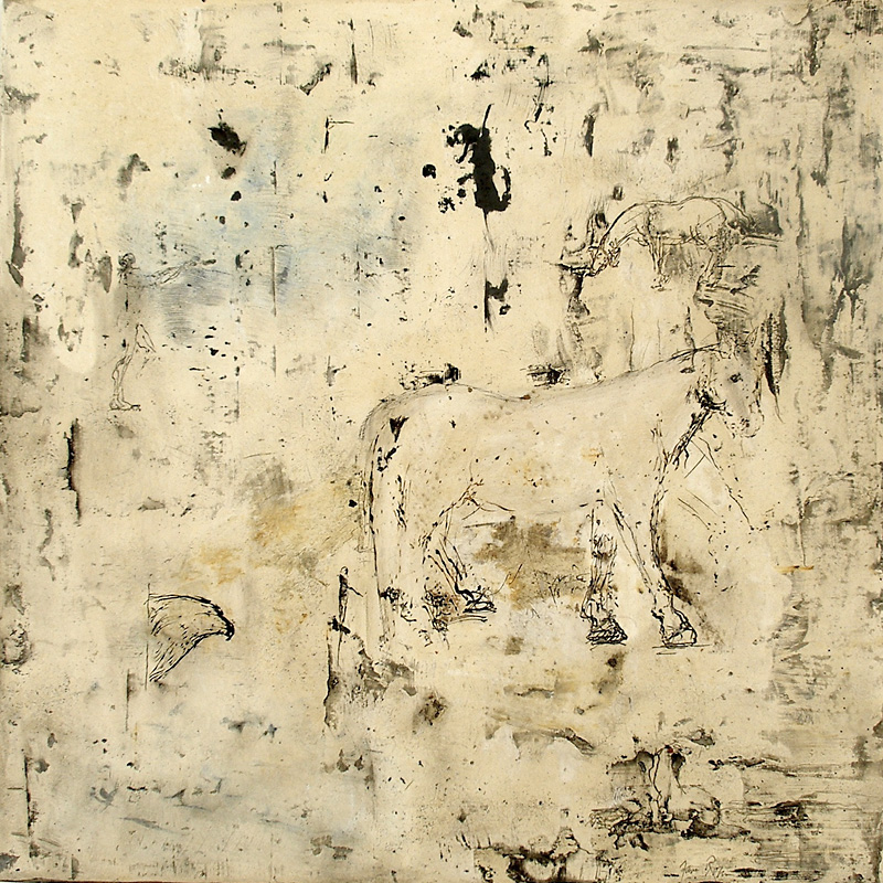 """Palomino,"" 2005-2007 Marble mix and sumi ink on wood 24 x 24 x .5 inches"