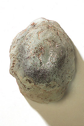 """Glass Buddhi Head #6,"" 1999 Cast glass 6 x 5 x 4 inches"