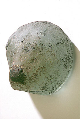 """Glass Buddhi Head #10,"" 1999 Cast glass 6 x 5.5 x 5.5 inches"
