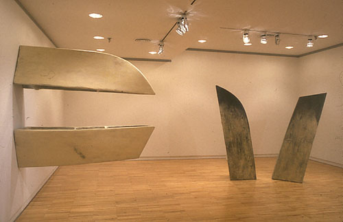 "Installation view of ""Better Nature"" at Grace Borgenicht Gallery, New York, 1993 ""Boat / Beak"", collection of the Brooklyn Museum (left) and ""Left Wing / Right Wing"" (right)"