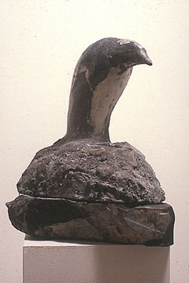 """Night Heron,"" 1987 Marble, mixed media 15 x 15 x 8 inches"