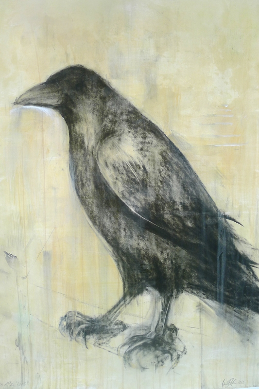 """Painted Raven,"" 2013 Coffee, Korean watercolor, beeswax on archival pigment print on clay ground 52 x 42 inches"