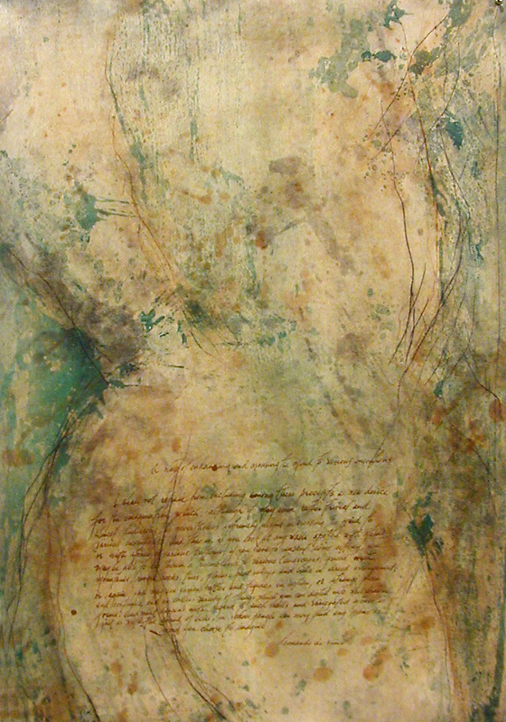 """Spots and Stains (For Leonardo),"" 2003 Chine-collé Etching and lithography, edition of 10 42"" x 31.5"""