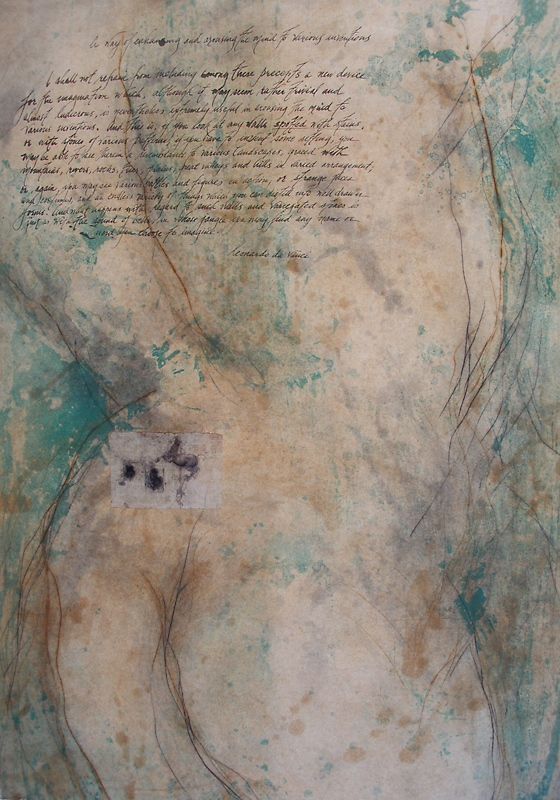 """Spots and Stains (Leonardo's Horse),"" 2003 Etching and lithography, edition of 20 42"" x 31.5"""