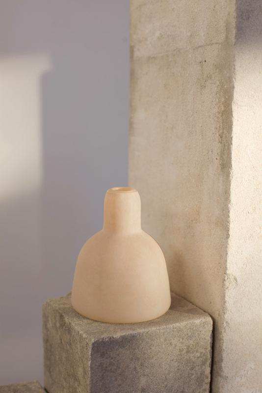 """Morandi Composition,"" details, 2015 Blown glass, limestone, and pigment"
