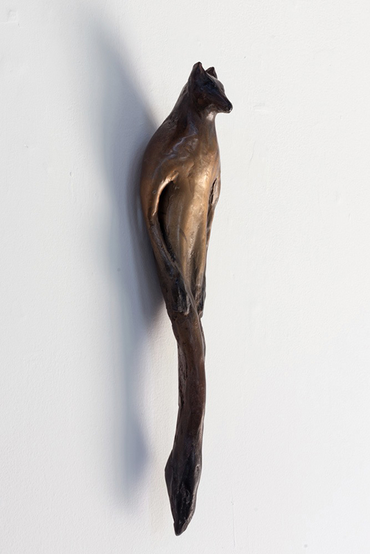 """""""Red Fox Buddhi,"""" 2015 Cast bronze with unique patina 18 x 5 x 4 inches"""