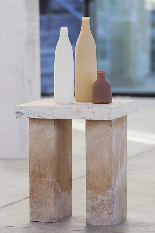 """Morandi Balzac Table,"" 2016 Hand blown pigmented glass and limestone 33 x 16 x 14 inches"