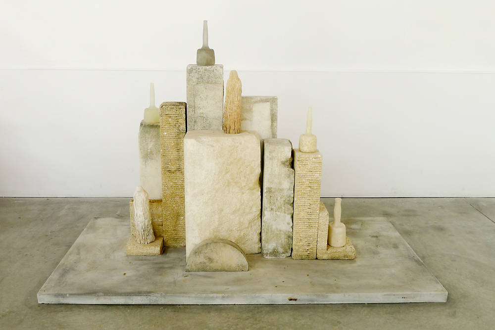 """Monk Morandi,"" 2013 Limestone and kiln cast glass 46 x 52 x 18 inches"
