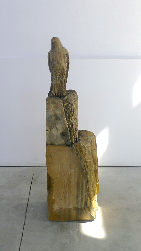 """Etruscan Bird,"" 2013 Portuguese Almond marble 46 x 52 x 18 inches figure: 13 x 5 x 8 inches"