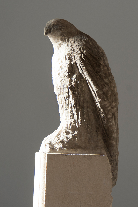 """Sebastian's Bird,"" 2013 Pigmented limestone & marble 72 x 15 x 17 inches"