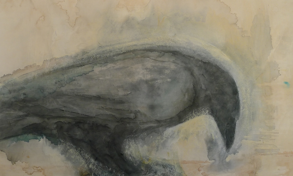 """Raven Eating,"" 2012 Mixed media on paper  22 x 30 inches"