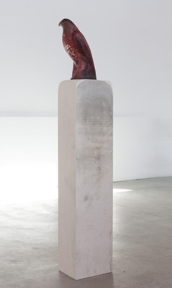 Rufous Bird, 2015  Hand blown pigmented glass on limestone   57 1/2 x 8 x 10 inches
