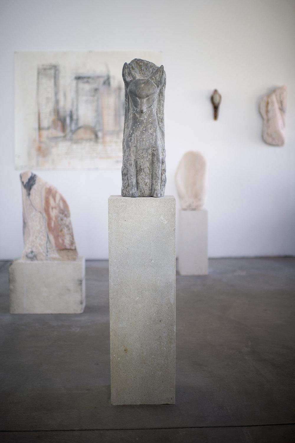 """Fox (Body),"" 2017   Grey limestone and linen limestone   58 x 11 x 8 inches"