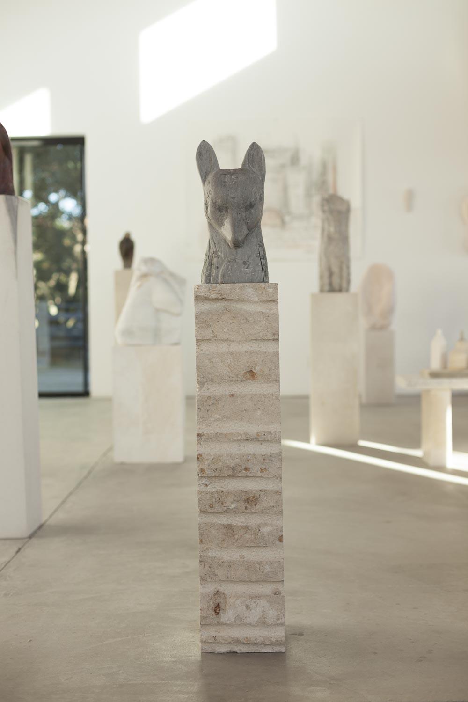 """""""Fox (Head),"""" 2017   Grey limestone and fossil limestone   60 x 8 x 11 inches"""