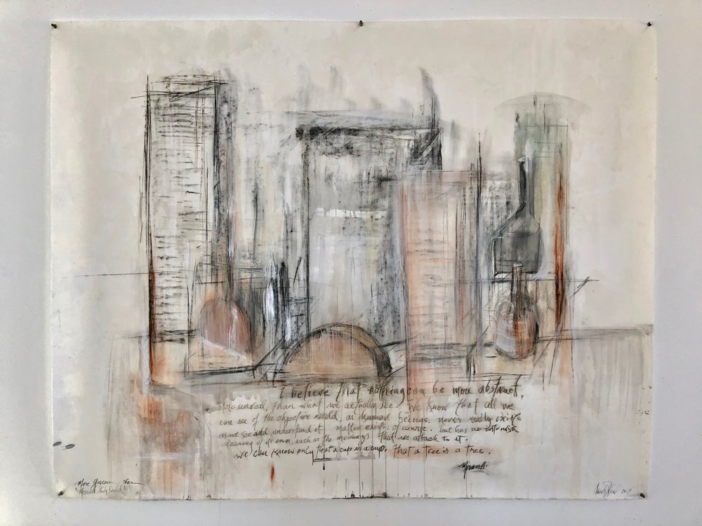 """Morandi Drawing,"" 2014   Chalks, coffee, charcoal, casein and beeswax 50 x 62 inches"