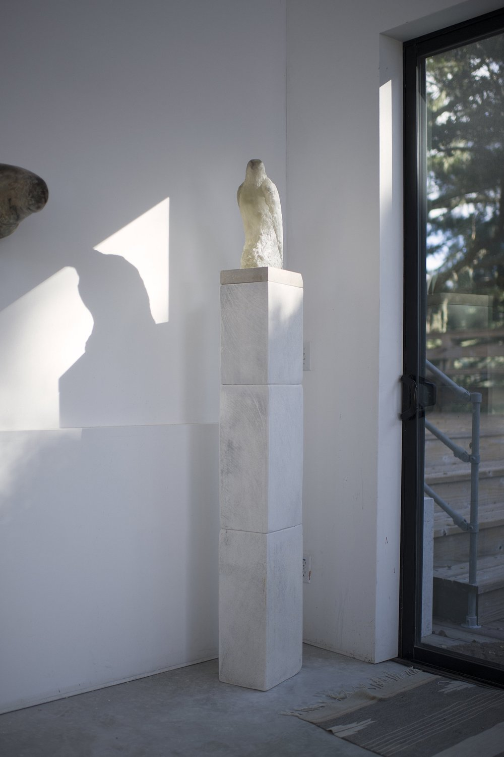 """Grey Crystal Bird,"" 2014 Kiln cast crystal and pigmented limestone 71 x 8 x 10 inches"