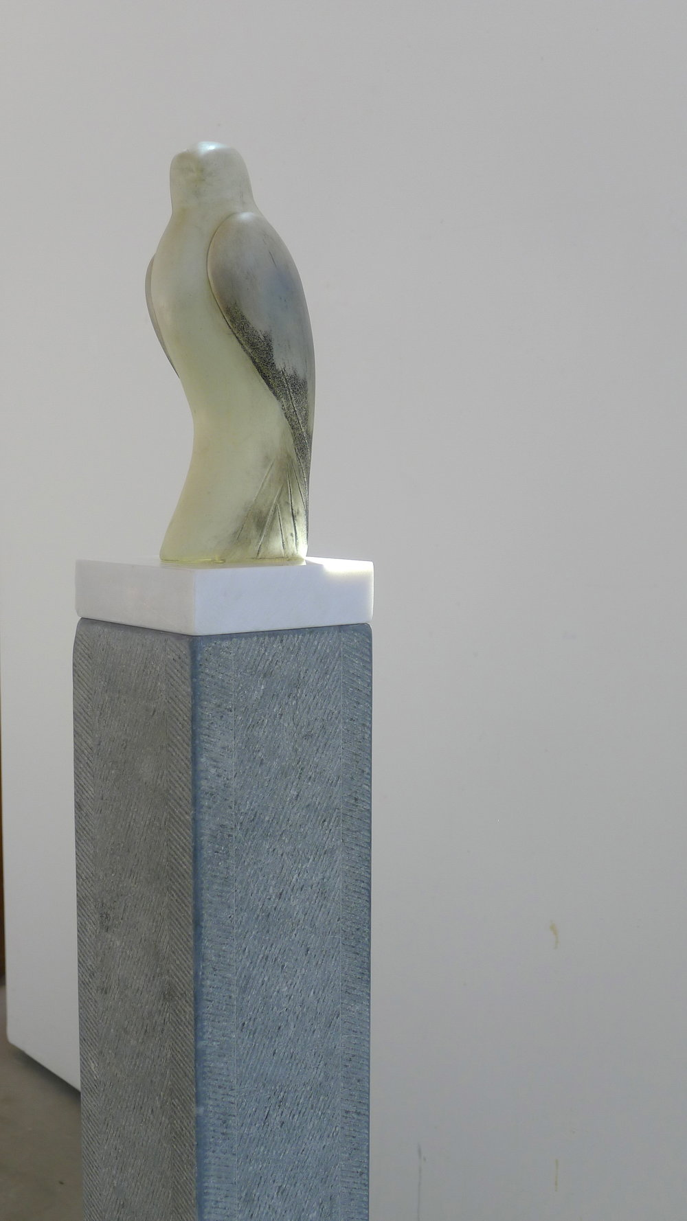 """Egyptian Gyrfalcon,"" 2017   Hand blown pigmented glass and grey limestone  64.5 x 10 x 14 inches"