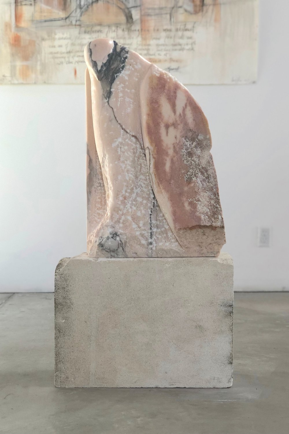 """Mantle,"" 2018  Portuguese marble and limestone  39 x 20 x 8 inches"