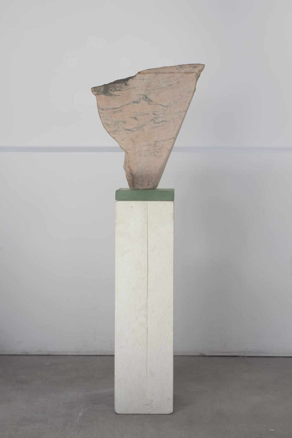 """Horse Drinking Water,"" 2018   Portuguese marble, kiln cast glass and limestone  48 x 16.5 x 9 inches"