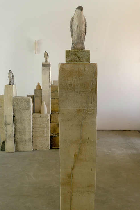 """Pale Goshawk,"" 2011   Limestone and pigment   74 x 20 x 12 inches"