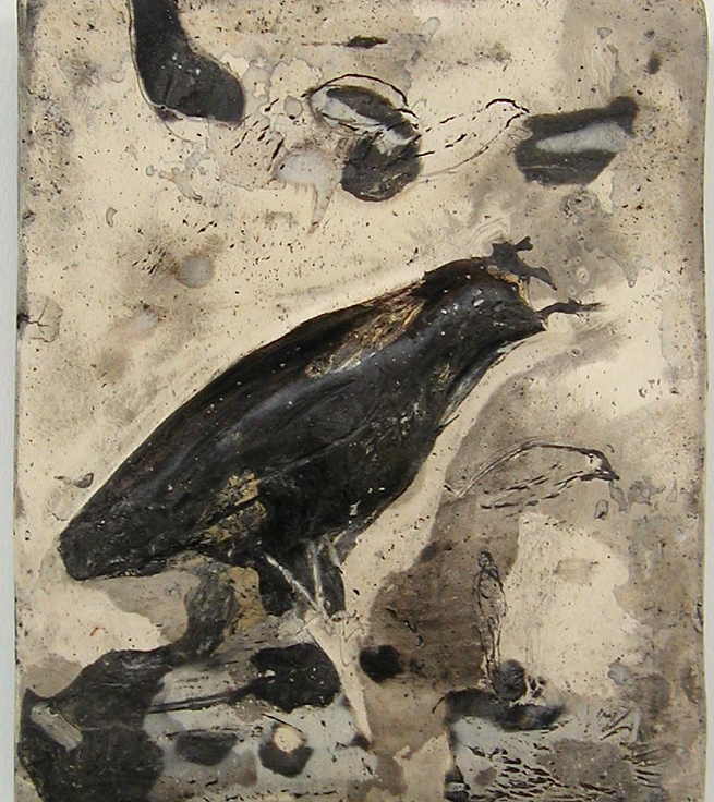 """Quail,"" 2005 Mixed media 11 x 10 x 1 inches"