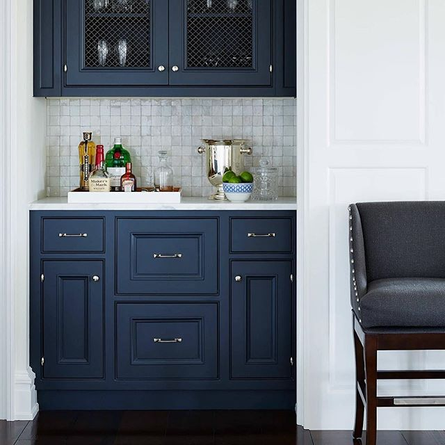 Ah, yes, the wet bar. Perfect for entertaining your guests or indulging in some solo contemplation. This particular space boasts a shade of blue that simply defines a cool elegance. This is our inspiration. . . . . #tribecakb #elegant #luxury #interiordesign #newyork #marble #tile #bathroom #kitchen #kitchen&bath #sophisticated #modern #contemporary #rich #remodeling #tribeca #designer #archidigest #architecture  #building #black #nyc #brookyln #lifestyle