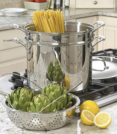 Large Pot with Pasta and Steamer Baskets
