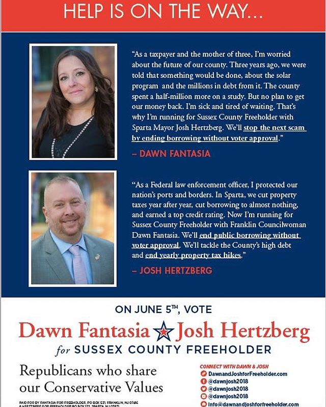 #Vote Tuesday, June 5th - Fantasia & Hertzberg for Sussex County Freeholder  #freeholder #pollsopen6am_8pm #dawnjosh2018 #sussexcountynj #helpisontheway