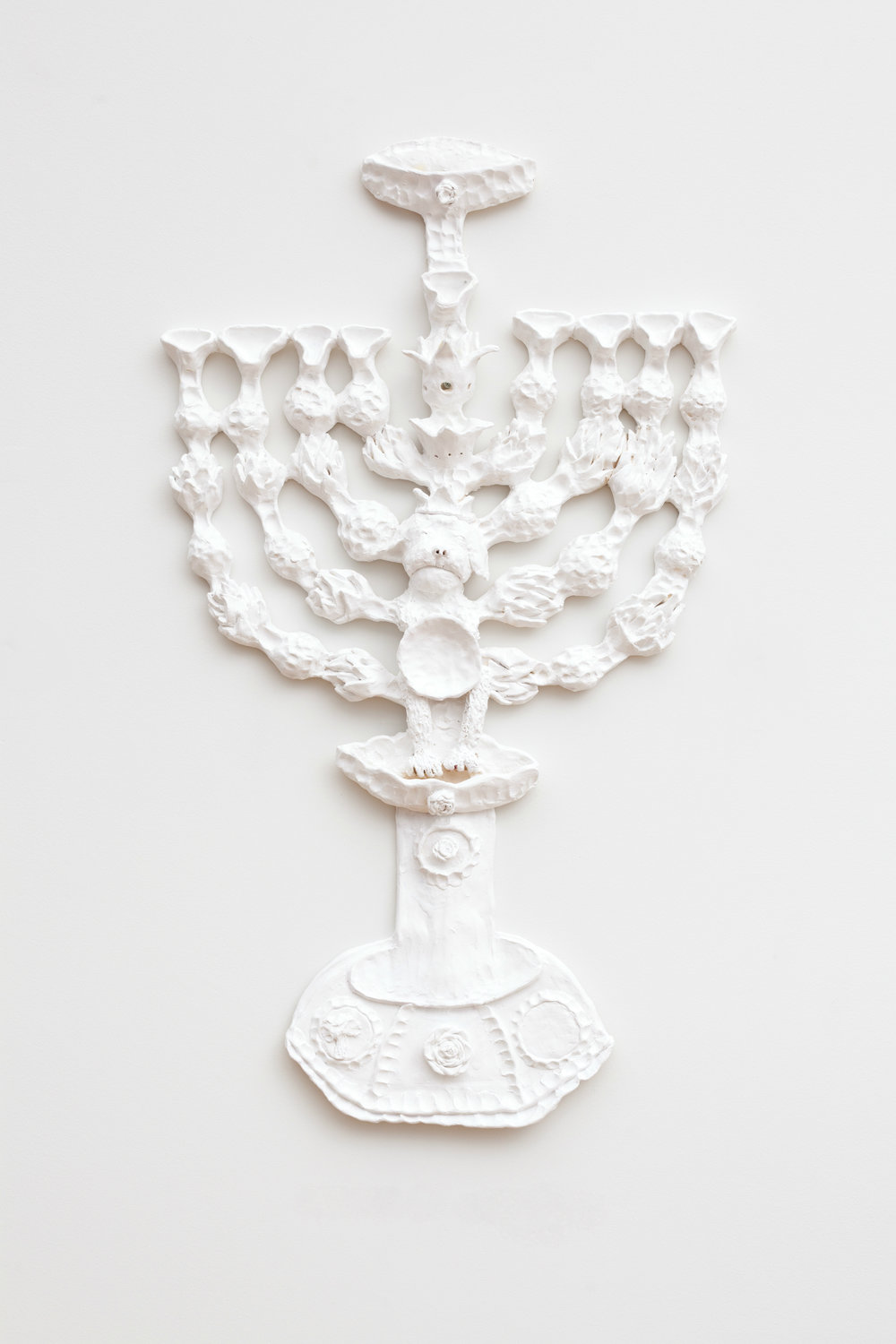 "Menorah (for my mother)   35"" x 21"" x 3"" / Ceramic, acrylic / 2014"
