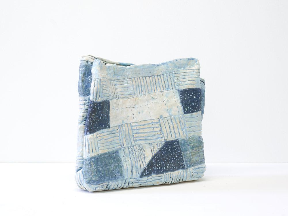 """Frances' Blanket   13"""" x 14"""" x 4"""" / Ceramic / 2018"""