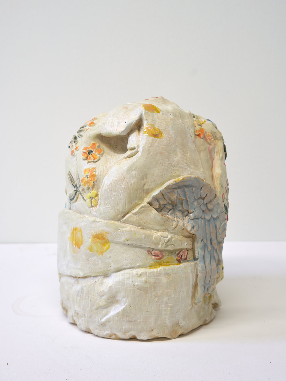 """Pillowcase and Wing   11"""" x 8"""" x 8"""" / Ceramic / 2018"""