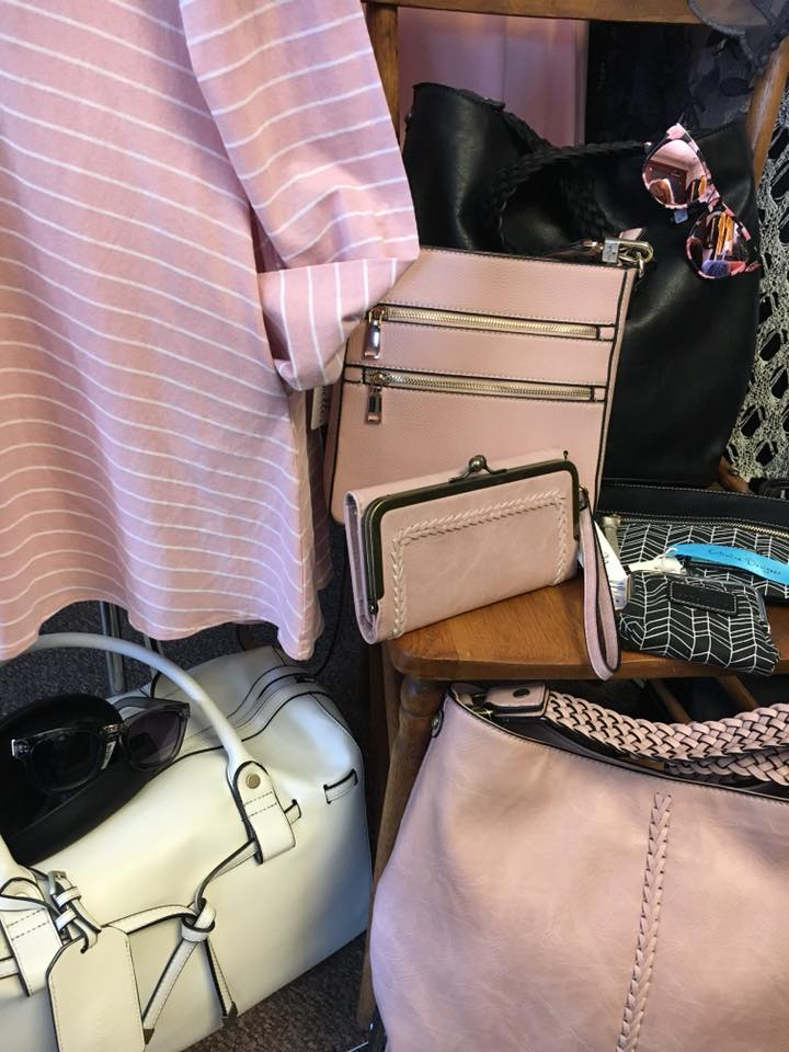 Noelle pink purses and black purses and striped jacket 2018 April.jpg