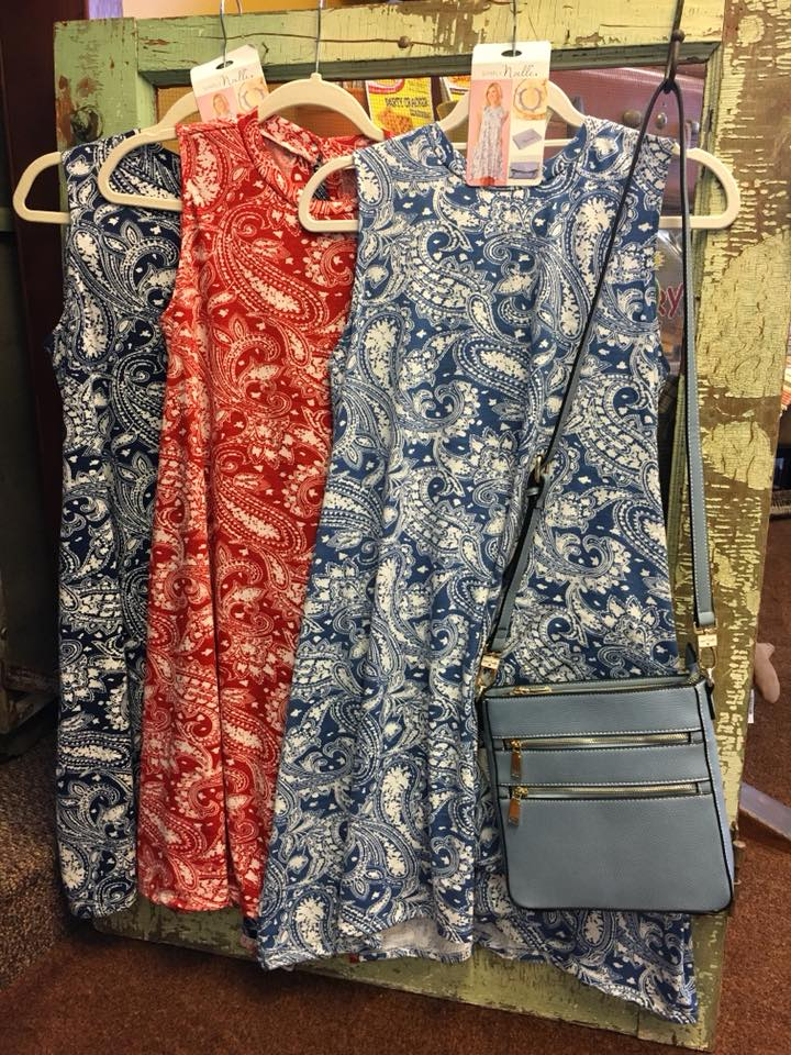 Noelle sleeveless paisley dresses hanging on door April 2018.jpg