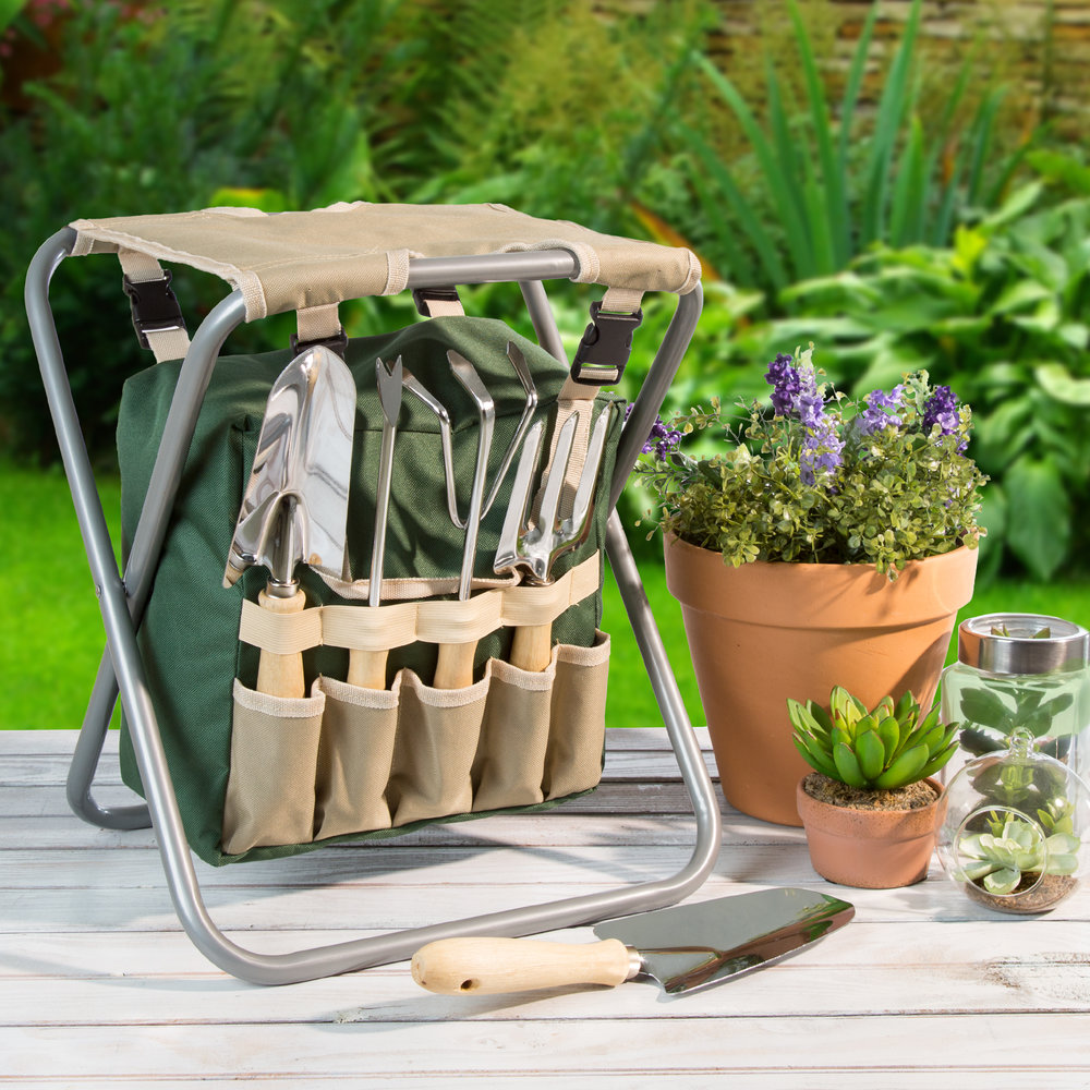 Garden Stool with Tool Bag