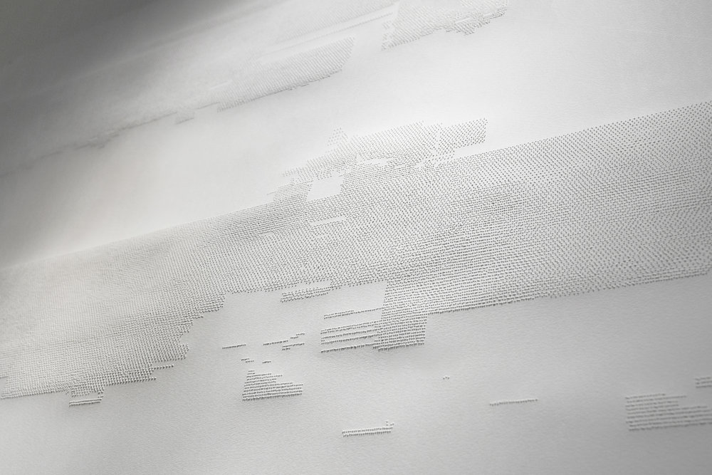 11.52 (detail) , Perforated paper, 1.5 x 1.5 m, 2015.