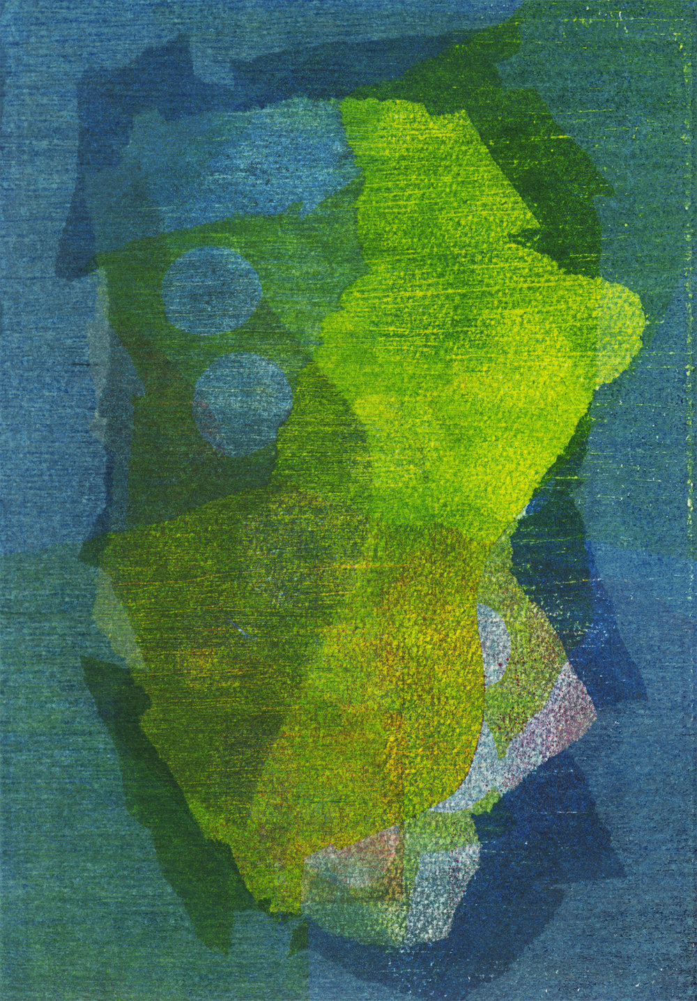 Another Green World , 2018, Monotype on watercolor paper, 10.5 x 7.5 inches; 27 x 19 centimeters, Edition of 1