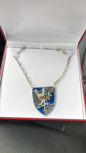 New medallion for Archery Champions of the Atlantian Crowns. Sterling silver, 14 kt. gold and Diamonds.