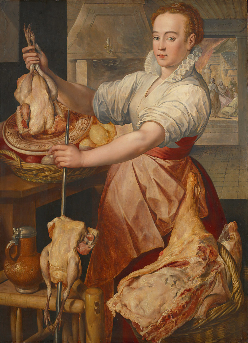 Joachim Beuckelaer: Cook (in the background Christ with Maria and Martha)