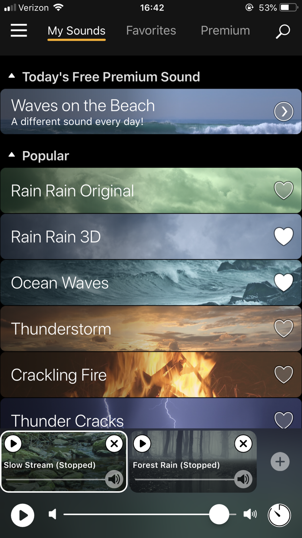 Screenshot of Rain Rain — a small collection of the sounds to choose from.
