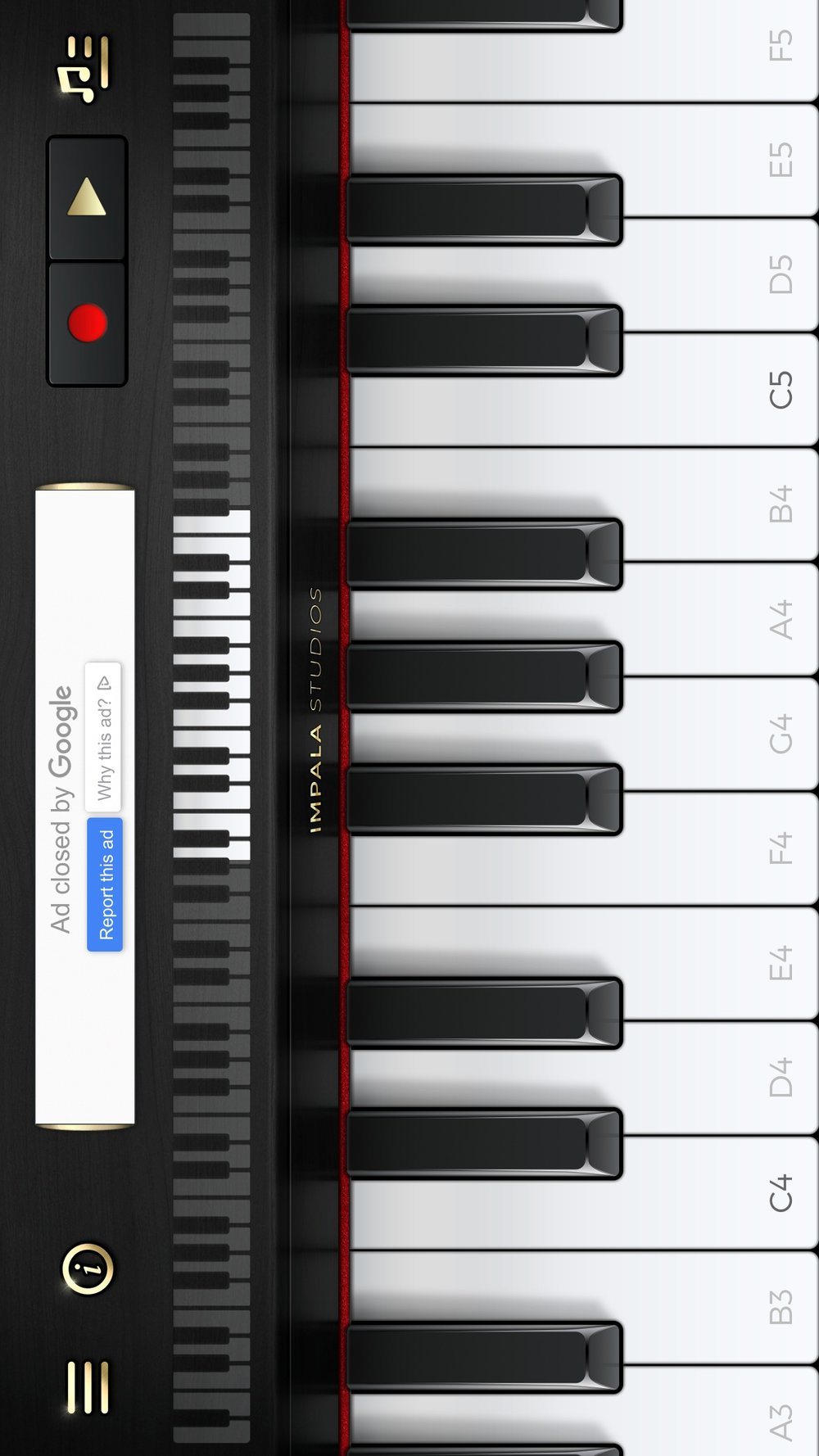 Screenshot of the slidable keyboard in The Piano app.